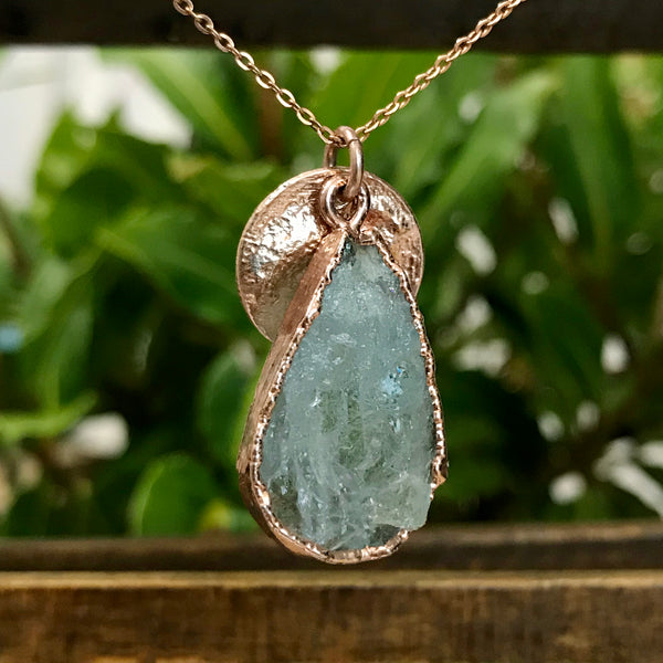 Rose Gold Plate Aquamarine Pendant