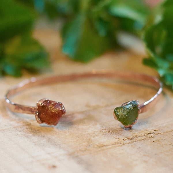 Rose Gold Plate Green Tourmaline and Citrine hammered bangle