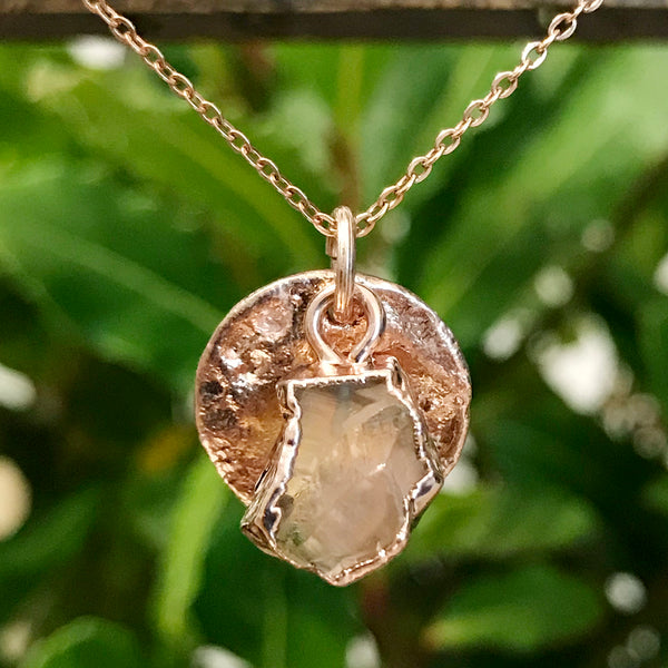 Rose Gold Plate Citrine Raw Pendant