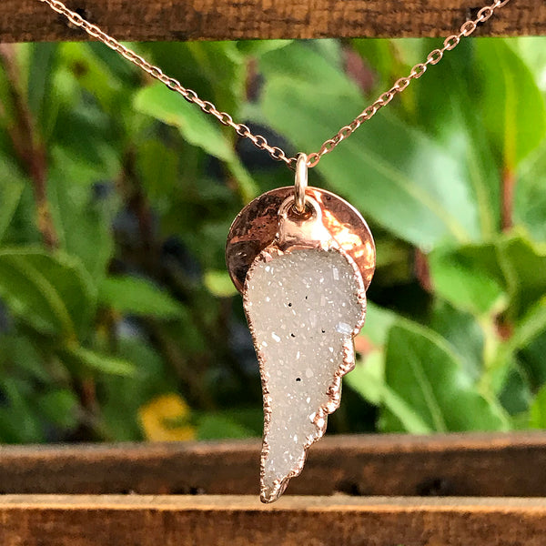 Rose Gold Plate Druzy Angel Wing Pendant