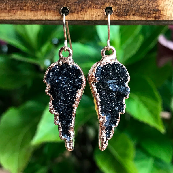 Rose Gold Plate Druzy Angel Wing Earrings
