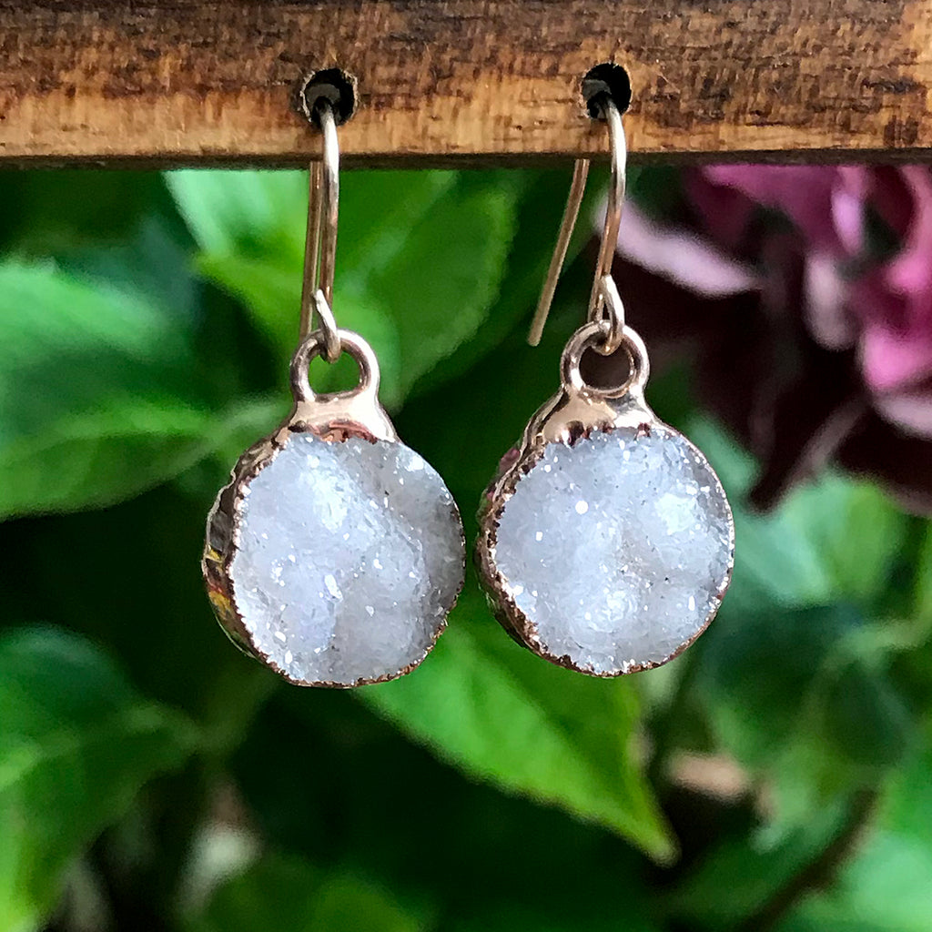 Rose Gold Plate Druzy Infinity Drop Earrings