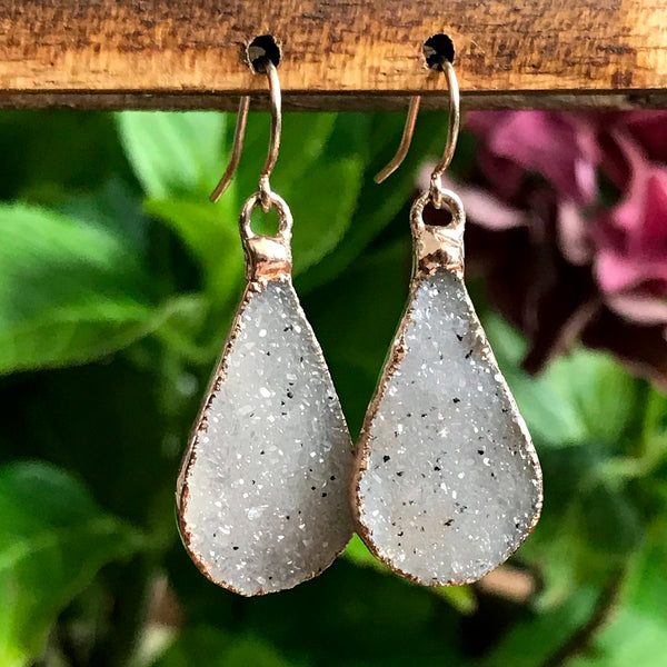 Rose Gold plate quartz druzy teardrop earrings
