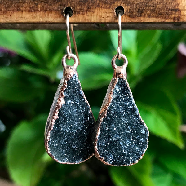 Rose Gold plate druzy teardrop earrings