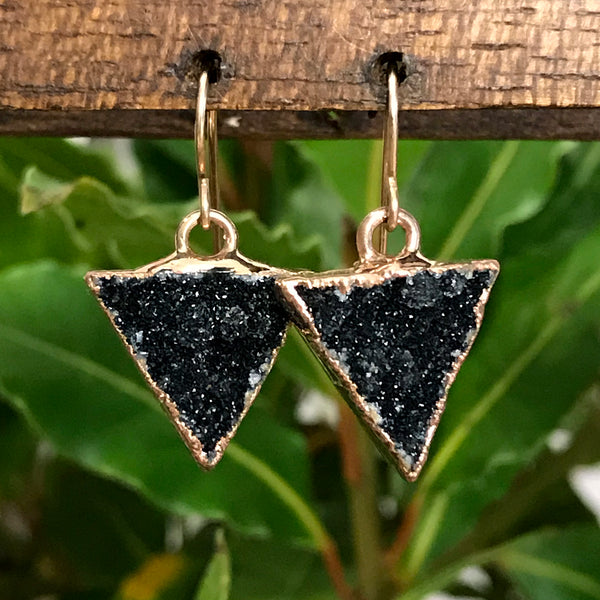 Rose Gold plate druzy triangle earrings