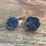 Rose Gold plate Druzy double ring, UK H, US 4