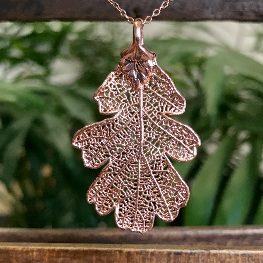 Mini Oak Rose Gold Plate Leaf