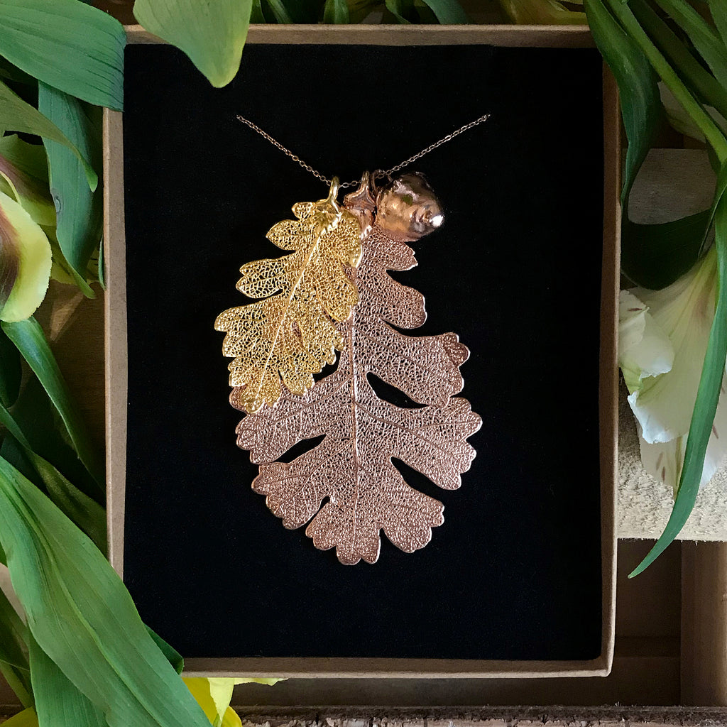 Acorn and Oak Rose Gold Plate and Gold Plate Leaf Trio