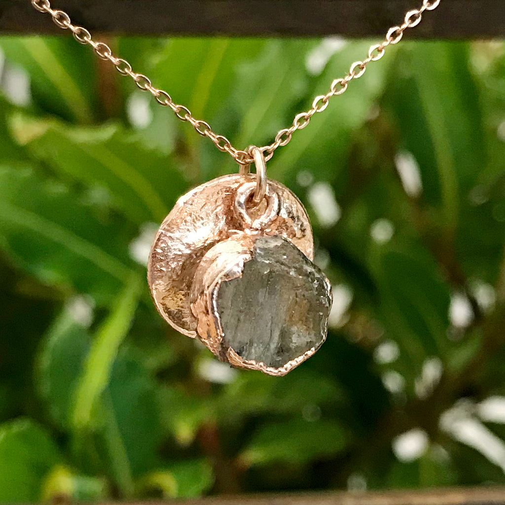 Rose Gold Plate Peridot Raw Pendant