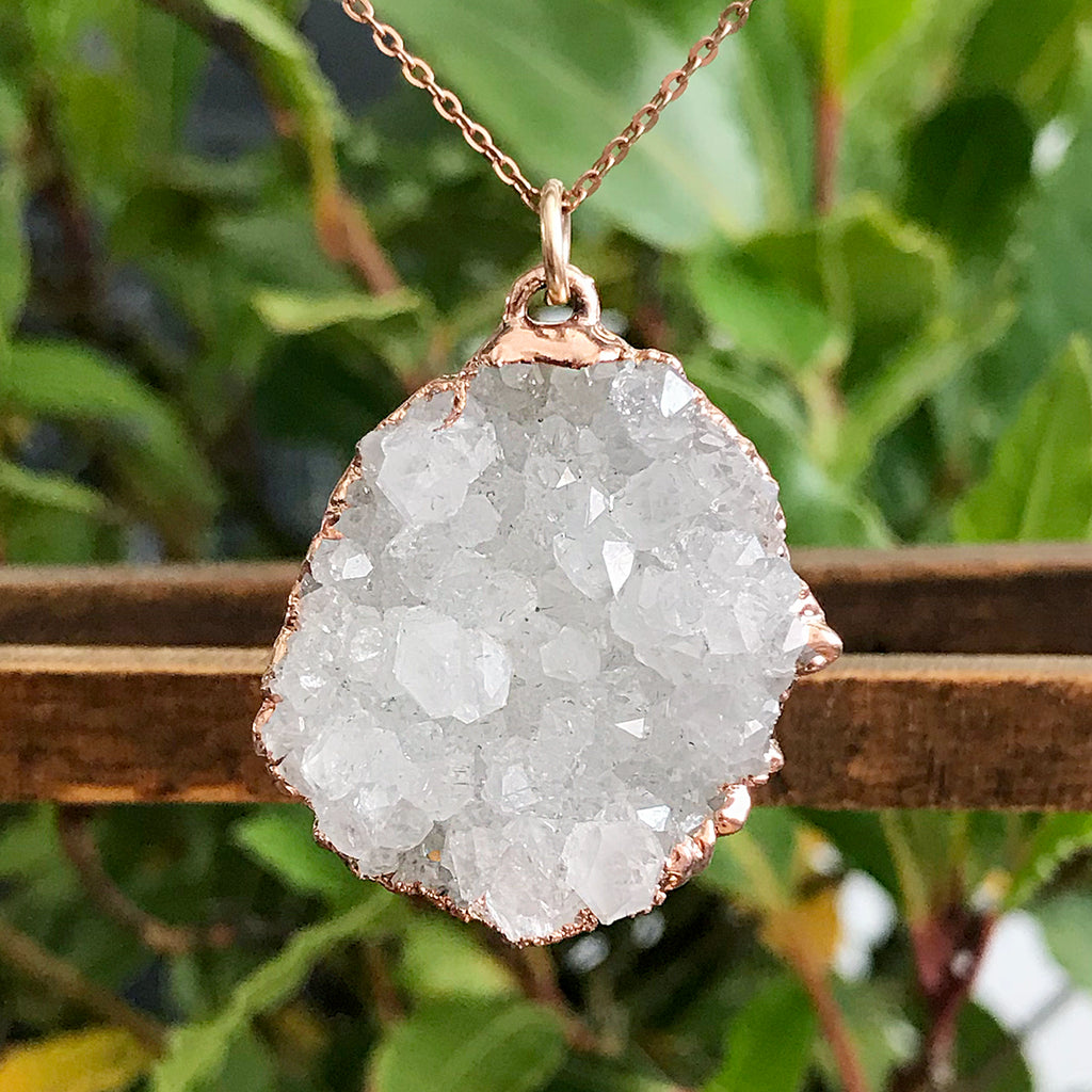 Rose Gold plate irregular shaped Druzy pendant