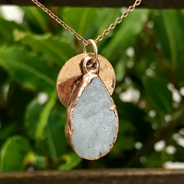 Rose Gold Plate Quartz Pendant
