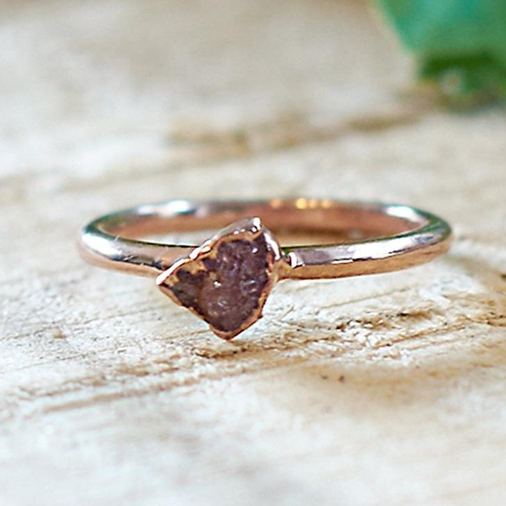 Rose Gold Plate Pink Tourmaline Stacking Ring, Size O
