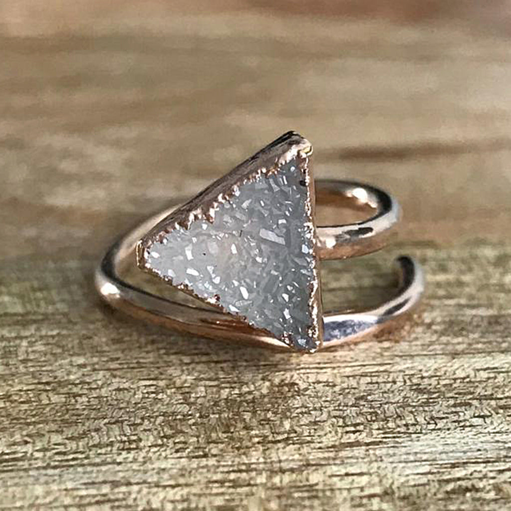 Rose Gold Plate Druzy Triangle Stacking Ring, UK I-K