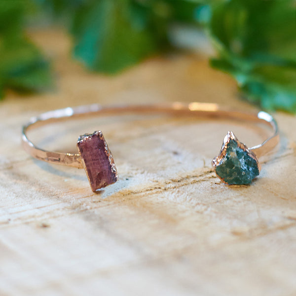 Rose Gold Plate Aquamarine and Pink Tourmaline Hammered Bangle