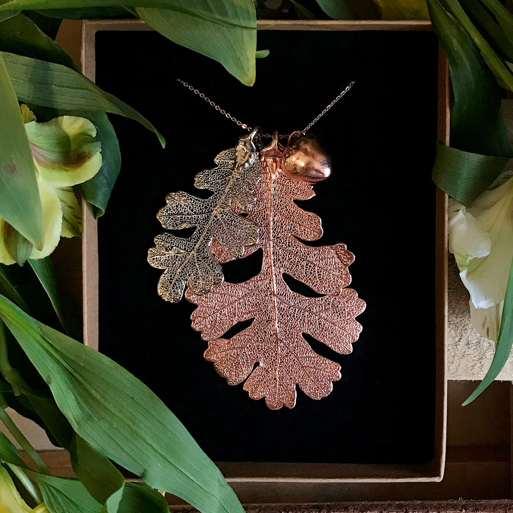 Acorn and Oak Rose Gold Plate and Platinum Leaf Trio