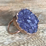 Rose Gold plate adjustable AMETHYST ring, UK P - T, US 7 1/2 - 9