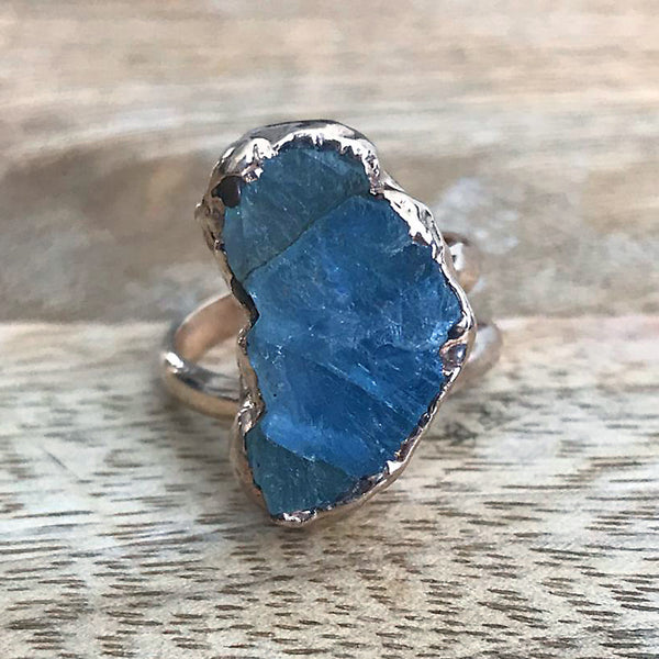 Rose Gold plate adjustable Aquamarine ring, UK K - N, US 5 - 6 1/2