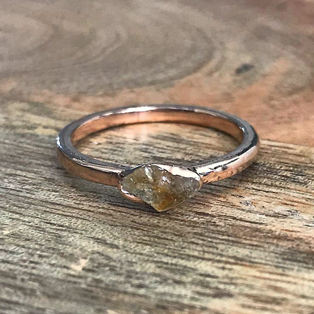 Rose Gold Plate Citrine Stacking Ring UK M 1/2, US 6 1/2