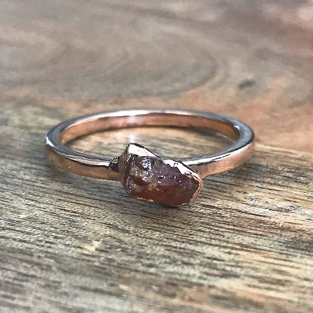 Rose Gold Plate Citrine Stacking Ring UK Q 1/2 US 8 1/4