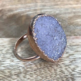 Rose Gold plate adjustable DRUZY ring, UK P - S, US 7 1/2 - 9