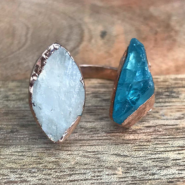 Rose Gold plate Moonstone & Aquamarine double ring, UK J 1/2, US 5