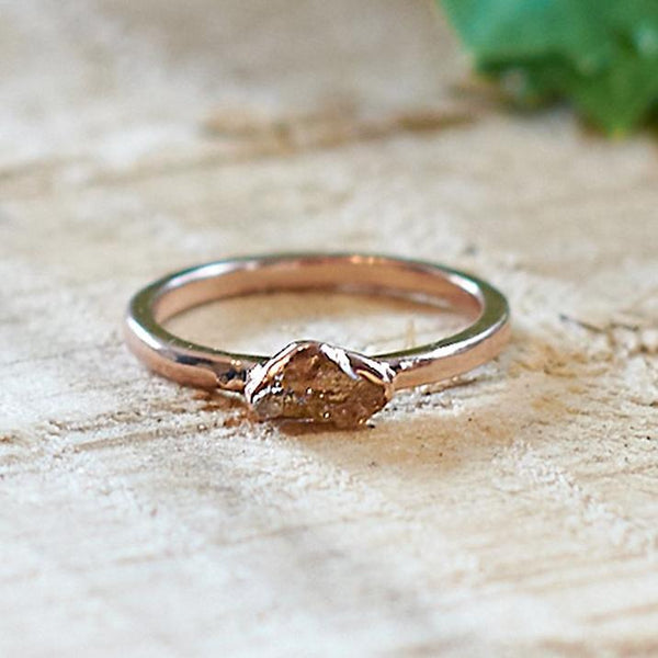 Rose Gold Plate Citrine Stacking Ring, Size M 1/2