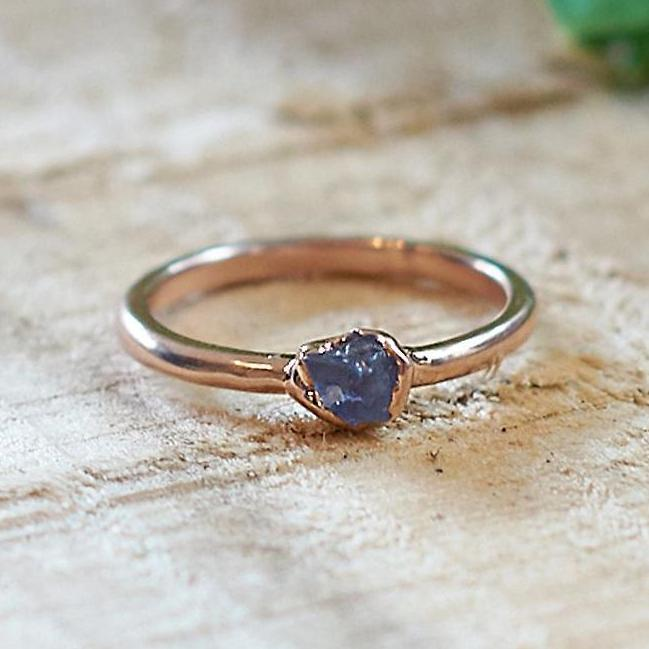 Rose Gold Plate Purple Fluorite Stacking Ring, Size M 1/2