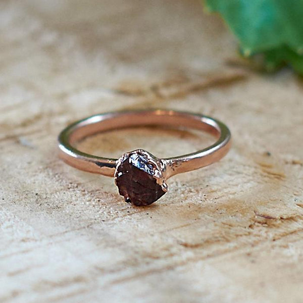 Rose Gold Plate Citrine Stacking Ring, Size P