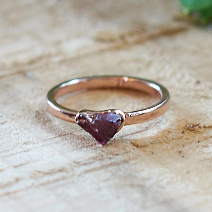 Rose Gold Plate Pink Tourmaline Stacking Ring, Size K