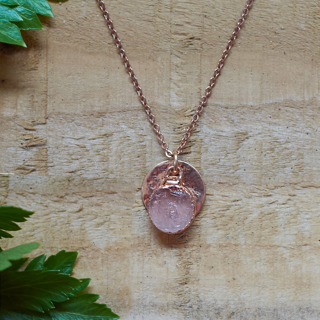 Rose Gold Plate Rose Quartz Pendant
