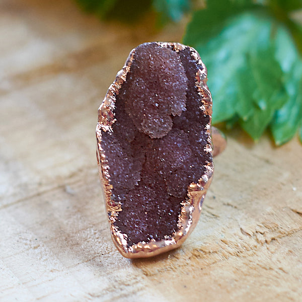 Rose Gold plate druzy adjustable ring, Size O - Q