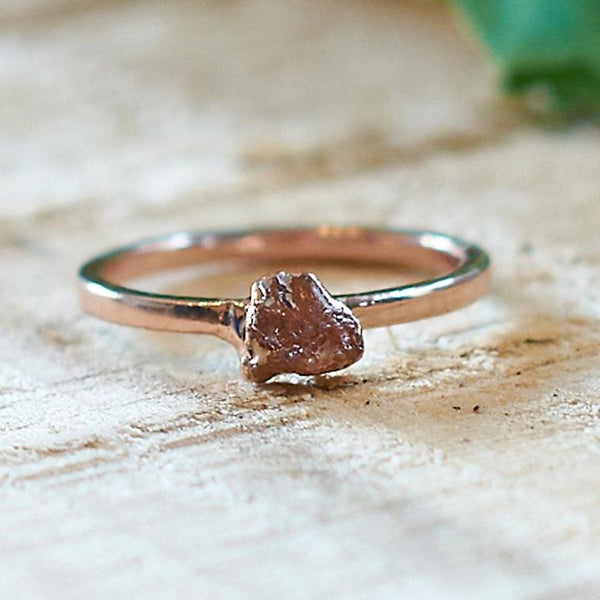 Rose Gold Plate Citrine Stacking Ring, Size Q 1/2