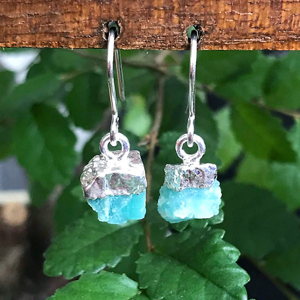 Silver Amazonite Raw Drop Earrings