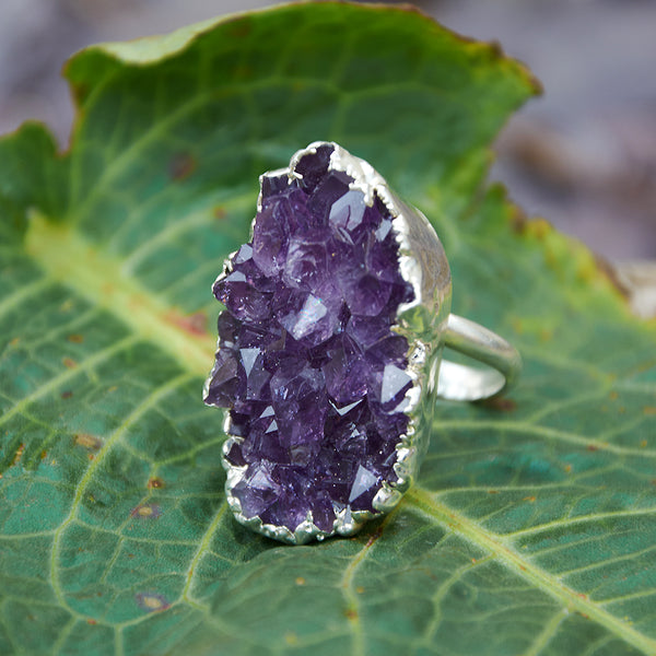 Sterling silver plate adjustable amethyst ring, UK L - M