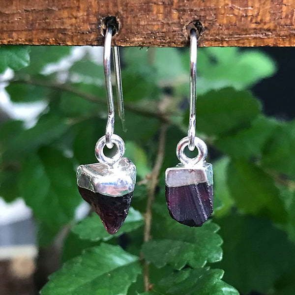 Silver Amethyst Raw Drop Earrings