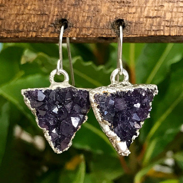 Silver plate Amethyst triangle earrings