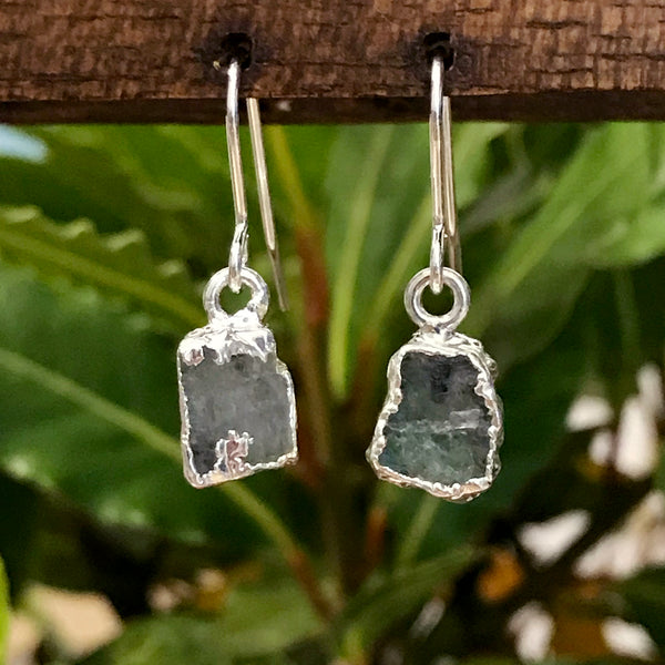 Silver Aquamarine Raw Drop Earrings