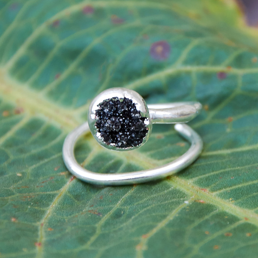 Silver plate adjustable black quartz druzy circular stacking ring, size M-O