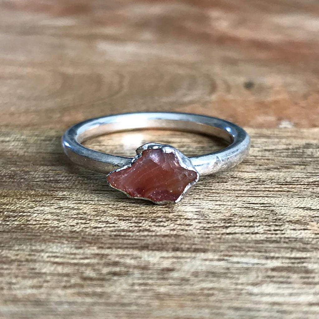 Silver Plate Carnelian Stacking Ring, UK Q, US 8