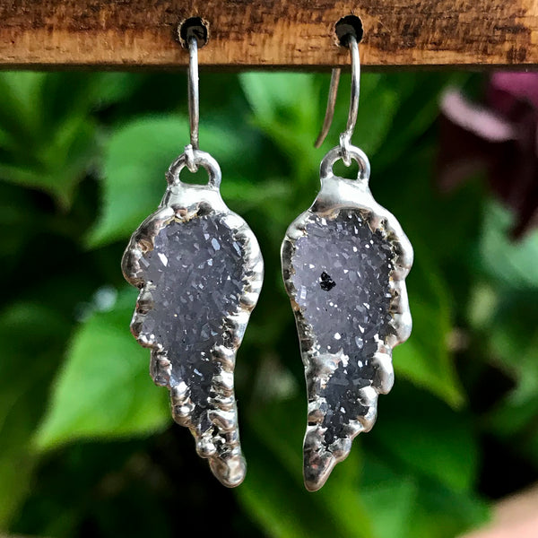 Silver Plate Druzy Angel Wing Earrings