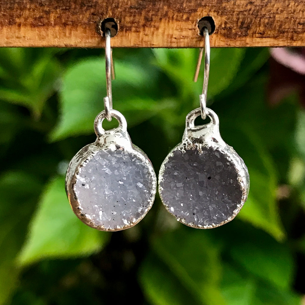 Silver Plate Druzy Infinity Drop Earrings