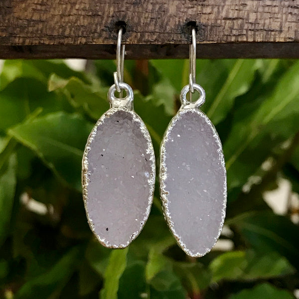 Silver Plate Druzy Oval Drop Earrings