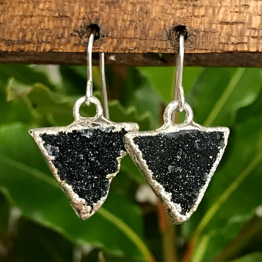 Silver plate druzy triangle earrings