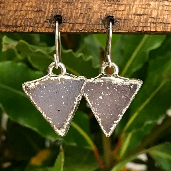 Silver plate Quartz druzy triangle earrings