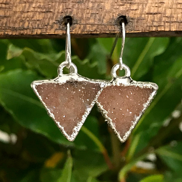 Silver plate Citrine druzy triangle earrings