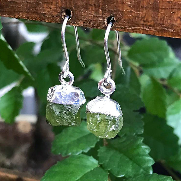 Silver Green Tourmaline Raw Drop Earrings