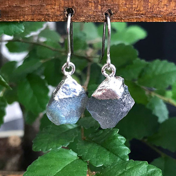Silver Labradorite Raw Drop Earrings