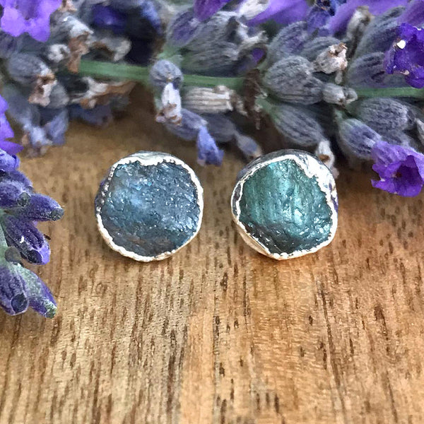 Silver Labradorite Infinity Stud Earrings