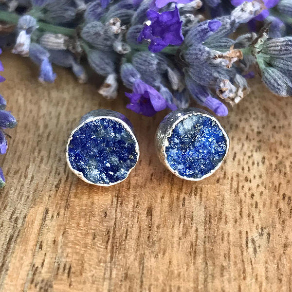 Silver Lapis Lazuli Infinity Stud Earrings