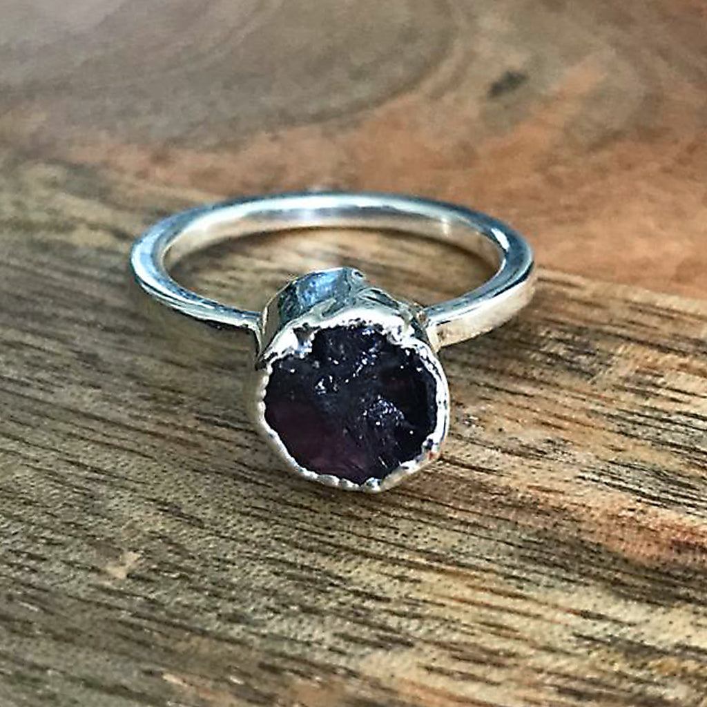 Silver Plate Amethyst Stacking Ring, UK L, US 5 3/4